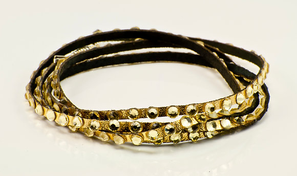 Gold Metallic Leather with gold crystals