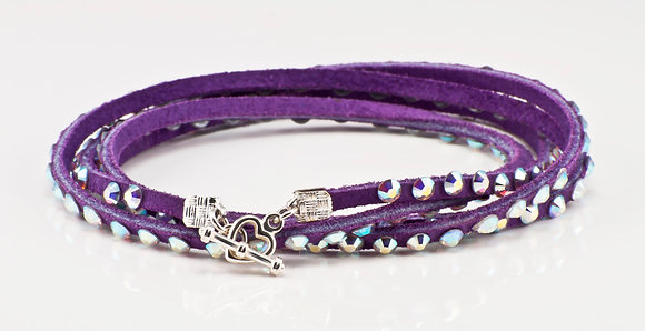 Purple Leather Bracelet with opalescent crystals