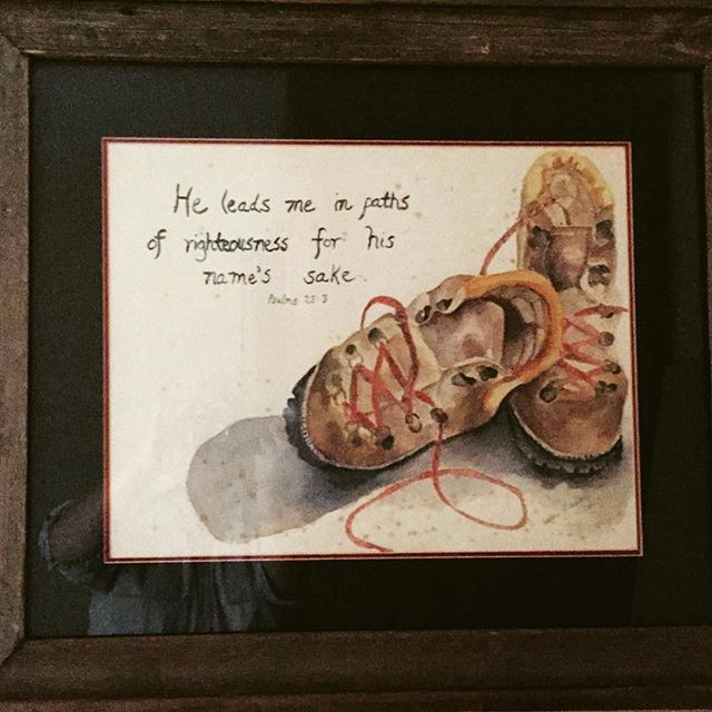 Watercolor painting of hiking boots