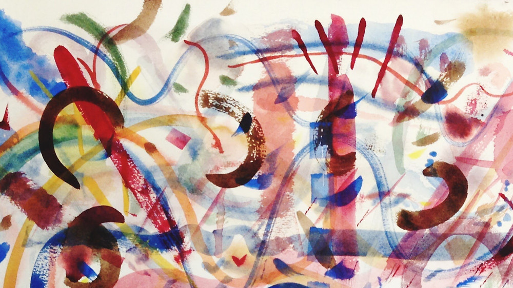 """Brush Strokes, watercolor, 22""""x26"""", collection of Mark S Omar"""