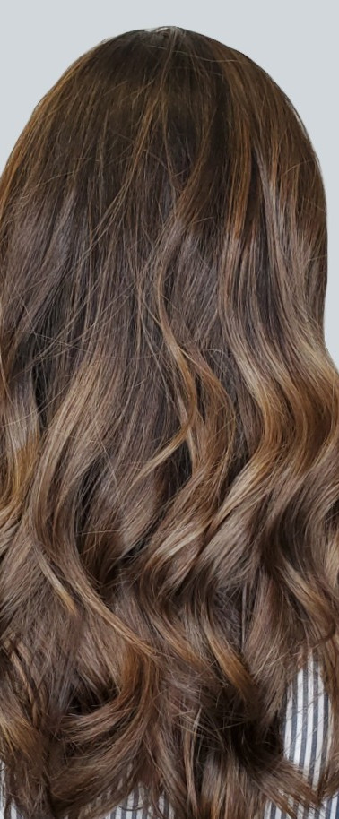 Dark Brown Hair Color Balayaged with Light Brown Highlights