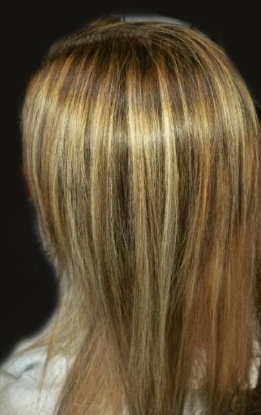 Gloden Blonde Highlights with Brown LowLights.