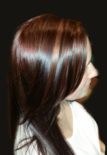 Mahogany Brown Hair Color with Carmel Highlights