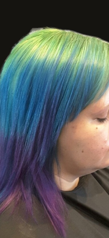 Prizim Hair with Green, Blue, and Purple Colored Hair