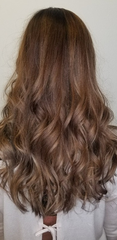 Brown Hair Color with Beige Balayage
