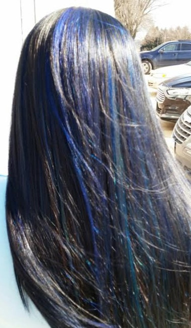 Black Hair Color With Blue Hair Highlights