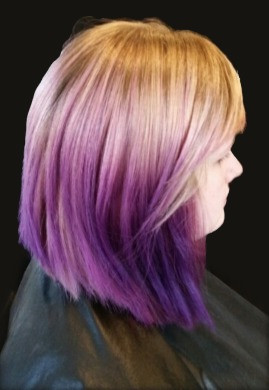 Color Melted with White Blonde Hair and A Nice Dark Purple Hair Color