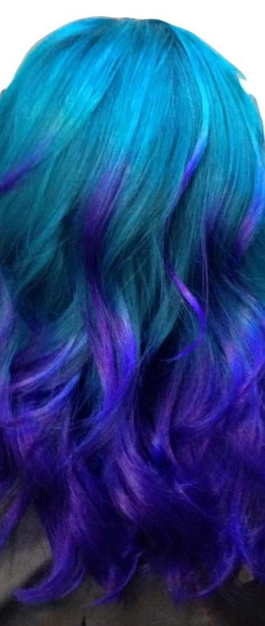 Balayage Light Blue and Puple Hair