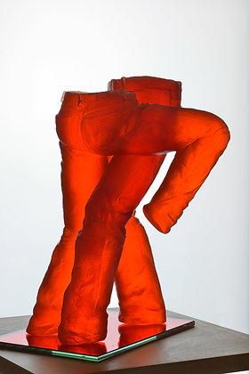 """Sculpture Résine """" Jeans Rouge Tango """""""