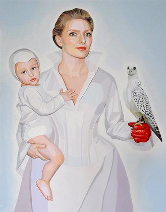 """Christina Holdgaard, """" Autoportrait au faucon et à l'enfant """""""