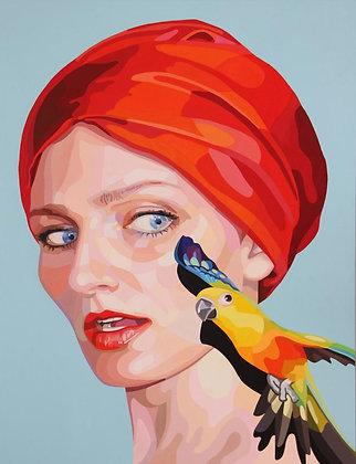 """Christina Holdgaard, """" Autoportrait à l'oiseau """""""