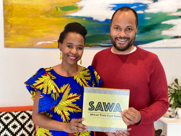 African Couple Launch SAWA African Trivia Card Game