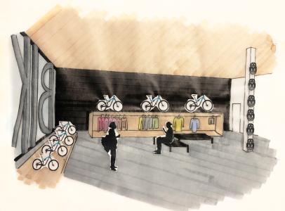 Bike Retail Hand Drawn Perspective