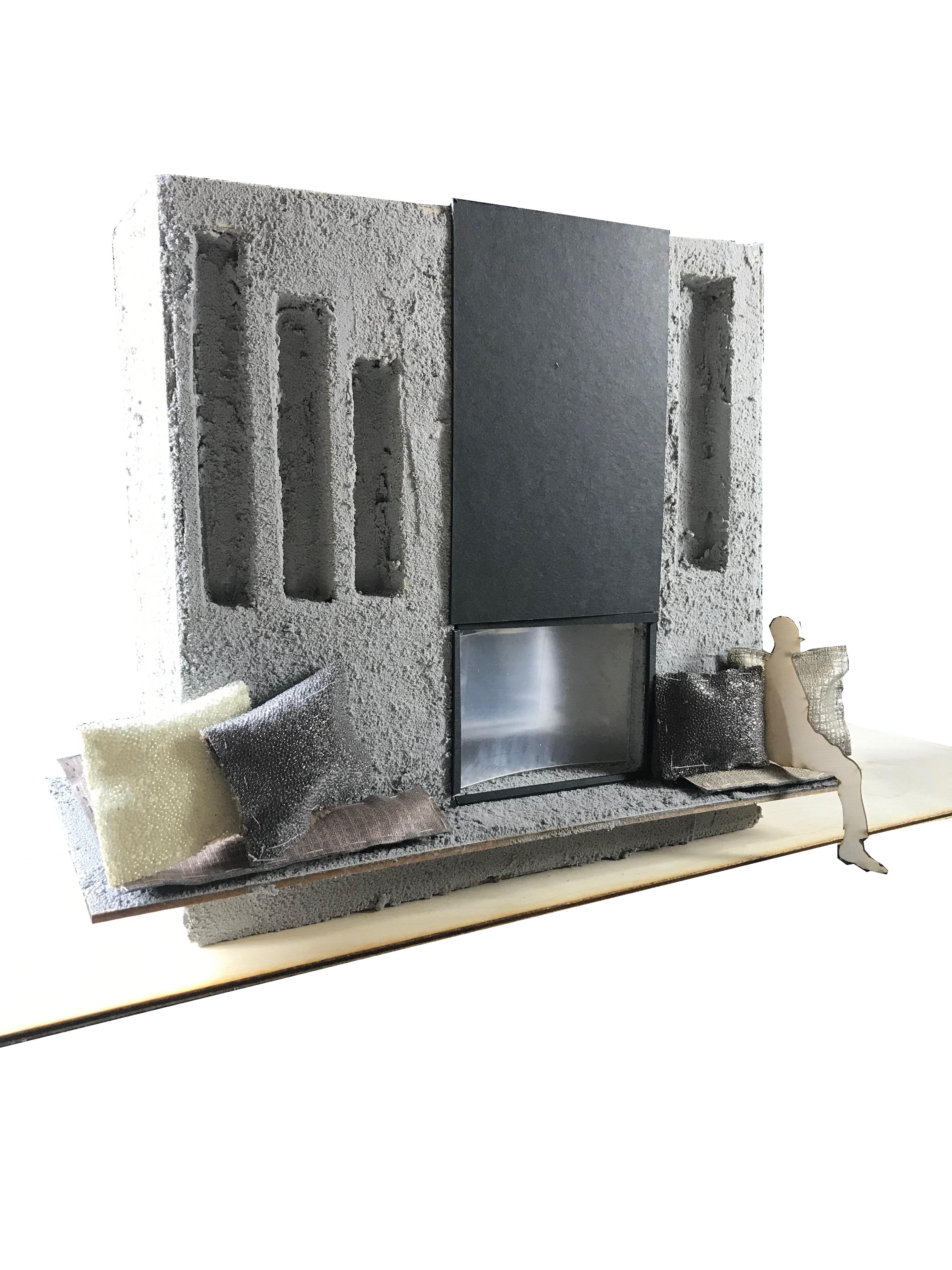 Hand-Made Model of Custom Fireplace