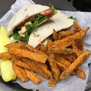 Grilled Chicken Pita with Sweet Potato Fries