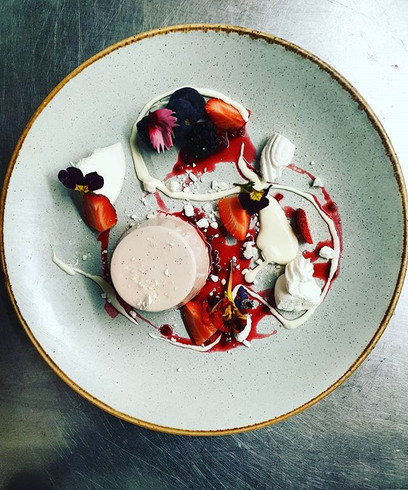 Berry infused pannacotta,meringue fresh