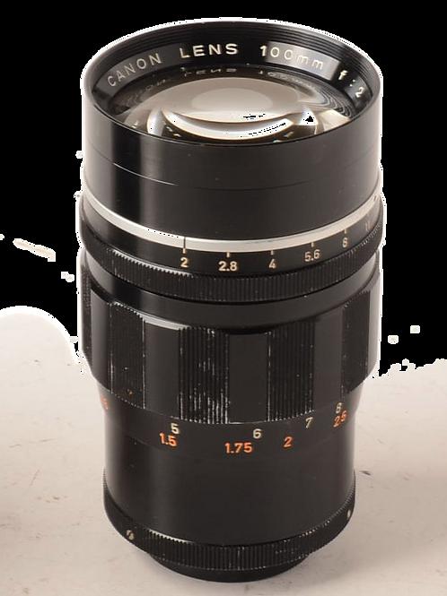 Canon 100/2 fast lens for Leica screw mount LTM