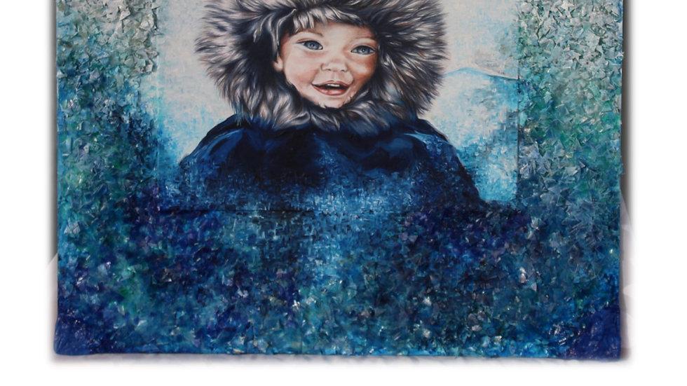 Inuit sous la neige - Oeuvre d'Art Unique et signée de l'Artiste