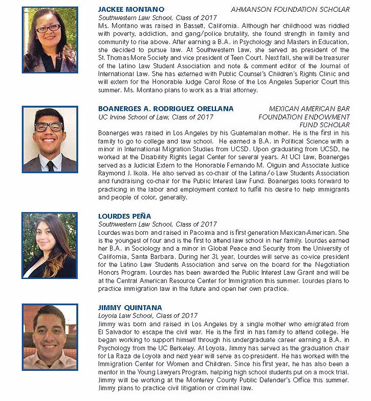 List of Scholars for 2016 with headshots and short biographies, part 5