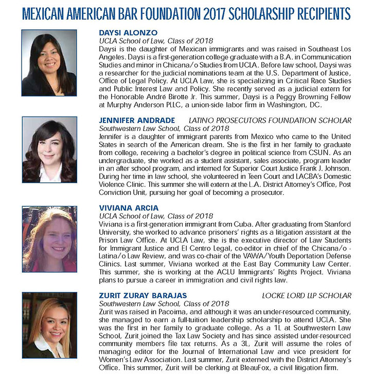 List of Scholars for 2017 with headshots and short biographies, part 1
