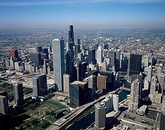 Aerial image of Chicago skyline