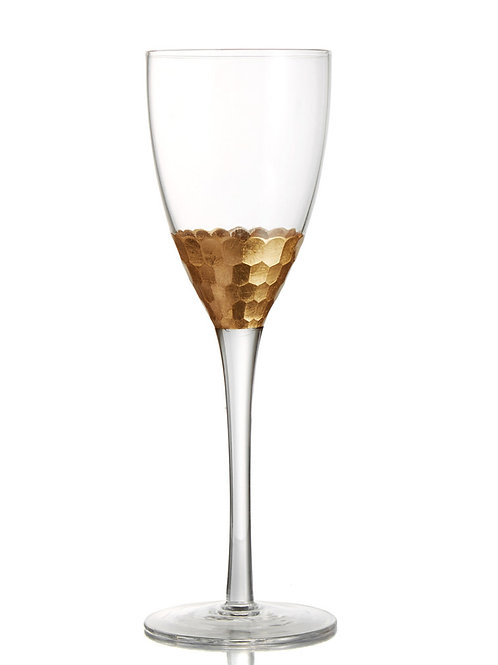 Gold Embellished White Wine Glasses - Set of 4