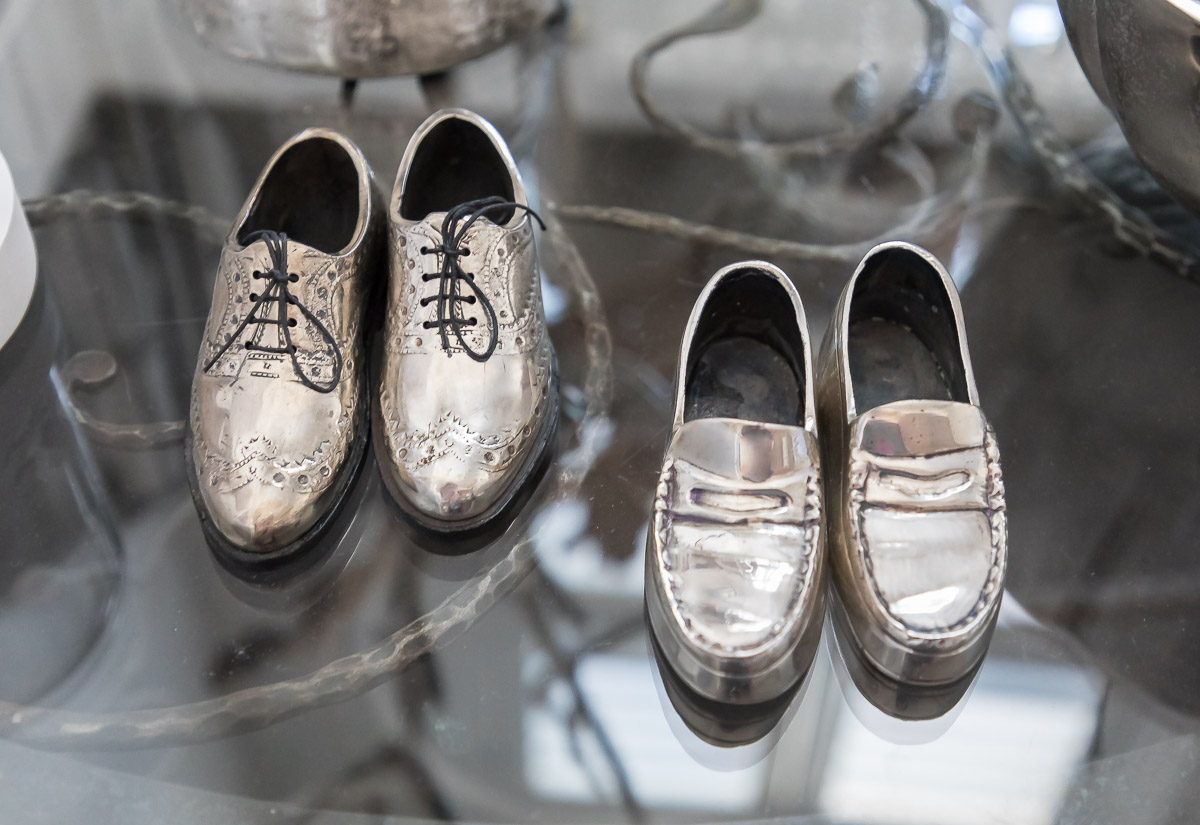Silver Metal Miniature Shoes
