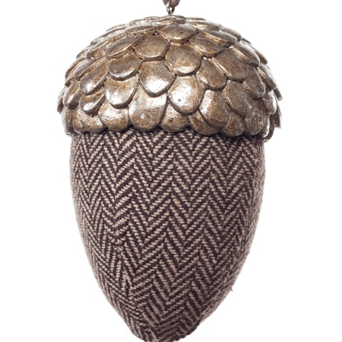 Large Fabric Acorn with Pewter Look Top - Tweed