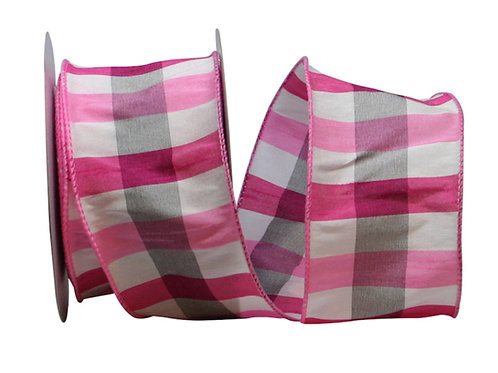 Pink and Grey Dupion Plaid