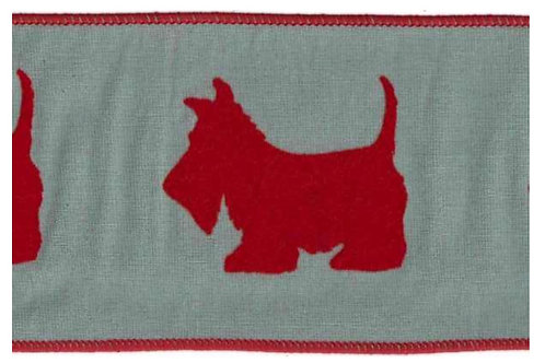 Red Westie on Celadon Dupion