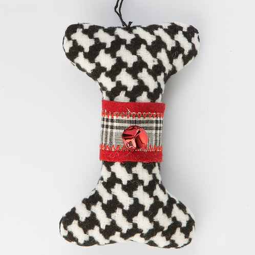 Houndstooth Dog Bone Ornament