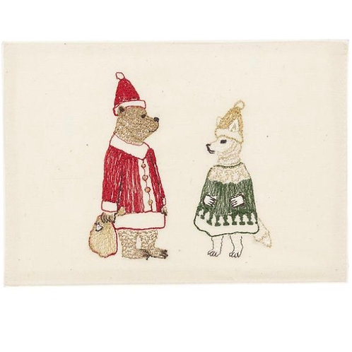 Embroidered Christmas Celebration Card