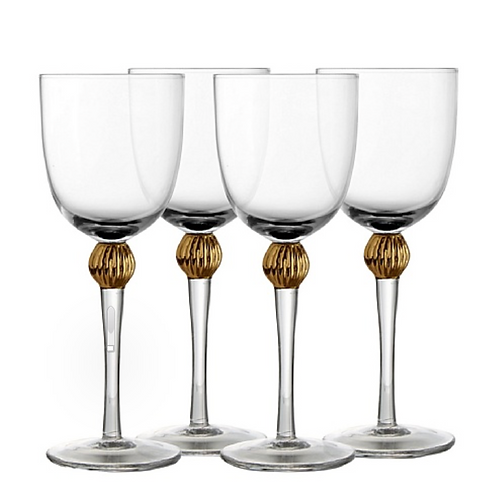 Goblet Embellished with Gold Ball - Set of 4.