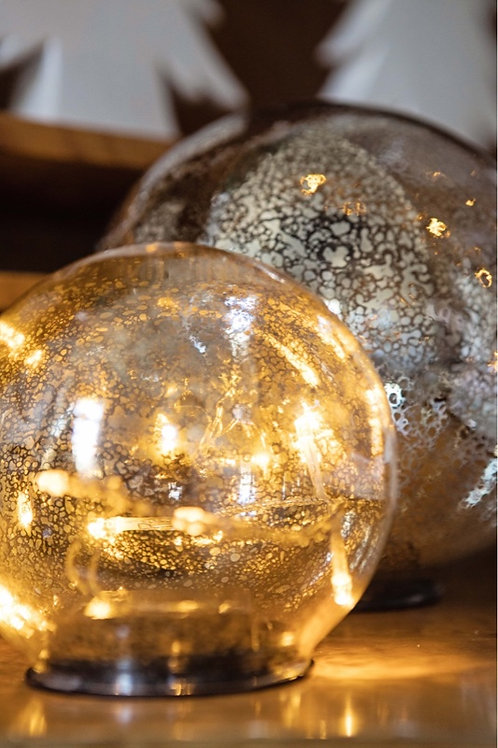 Mercury Glass Light Up Globe