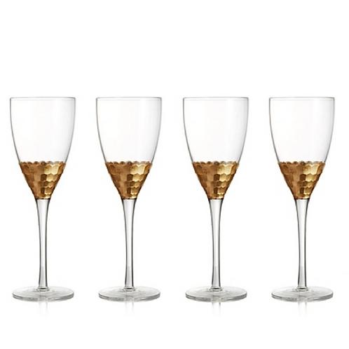Gold Embellished  Red Wine Glass - Set of 4
