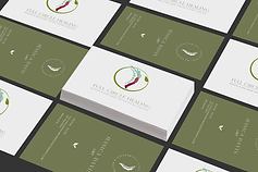 Houston massage therapist green and white business card design mock up