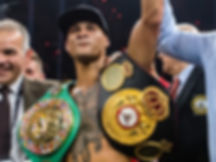 World champion, Regis Prograis, getting his hand raised with two belts for his WB Super Series Ali Trophy title boxing fight