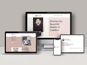 Nicolee Art website mockup on various mac devices