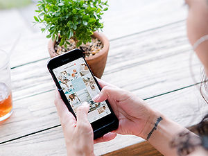 Houston woman holding iphone going through a Instagrm feed drining tea next to a tiny plant.