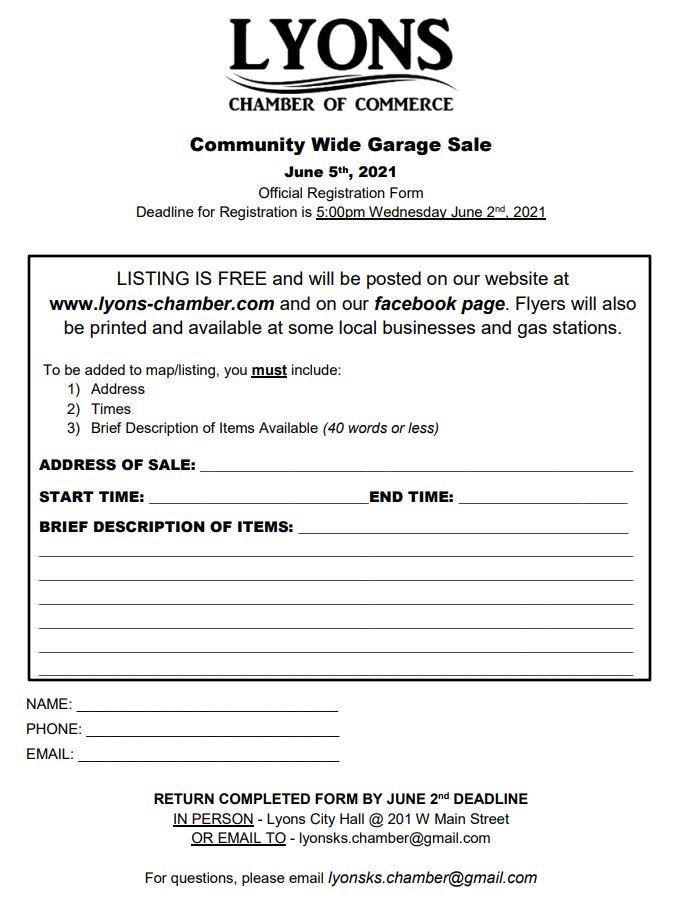 Community Wide Garage Sale 2021 Registra