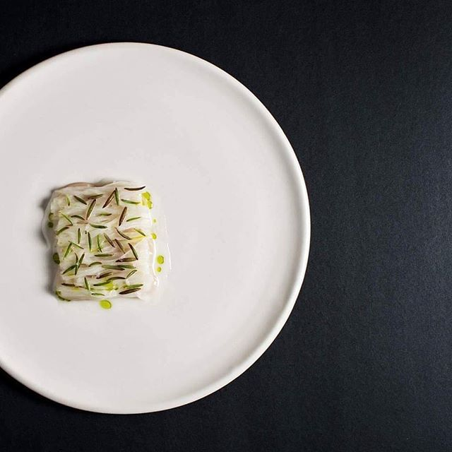 Raw scallop, kohlrabi soured cream sauce, camomile and sea blight byzackaryleon.jpg