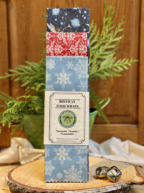 Holiday ! Set of 3- Beeswax Food Wraps