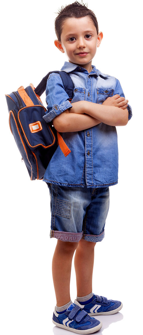 Young male student holding a backpack