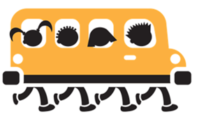 Cartoon-like clip art of children on a school bus