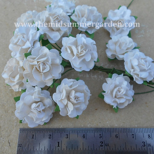 50Pcs. White Curly Mulberry Paper Rose 25 mm.