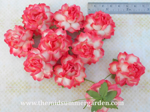 25 Pcs. Mulberry Paper Rose Flower 35 mm for Art, Craft, Embellishment and DIY.