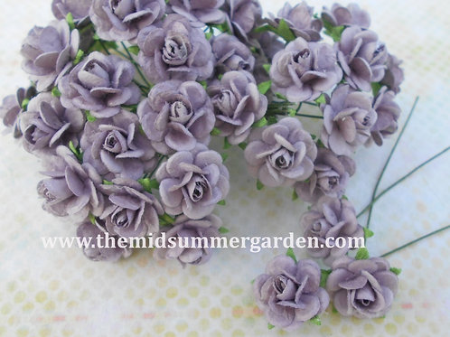100Pcs. Purple Mulberry Paper Rose 15 mm for Craft, DIY and Scrapbook