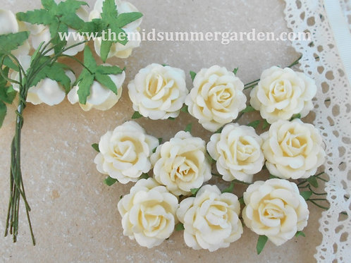 50 Pcs. Cream Mulberry Paper Rose 28 mm for art, craft, scrapbook, DIY project
