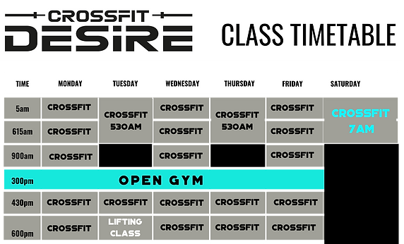 CrossFit Desire Class Timetable