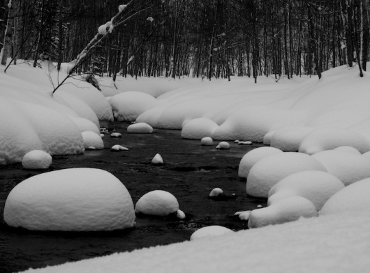 snow on the stream